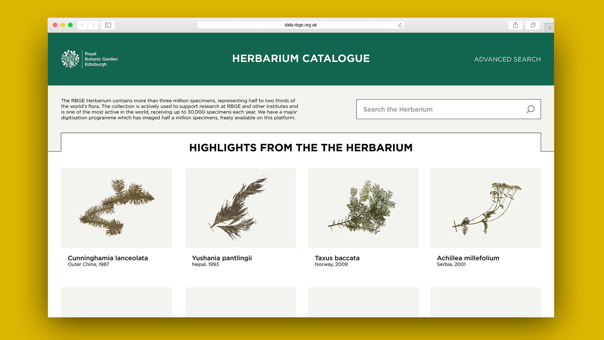 Homepage of Herbarium Website